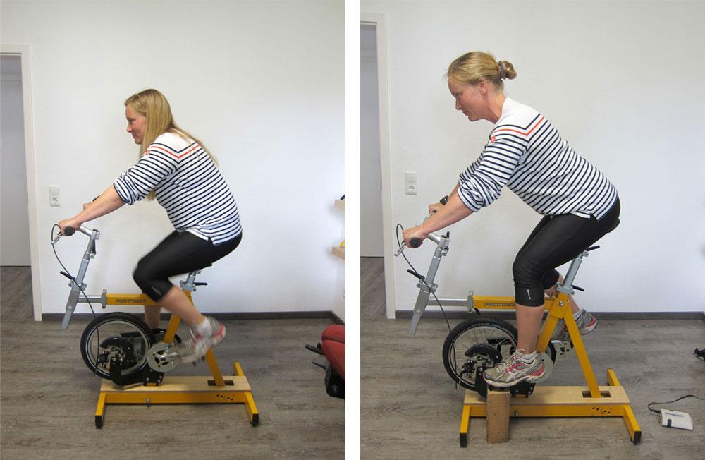 Ergonomie Beratung Simulation des Kunden-Fahrrades auf dem Velochecker